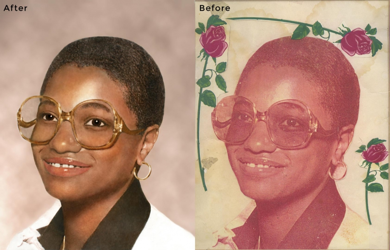 Woman with Glasses Photo Restoration