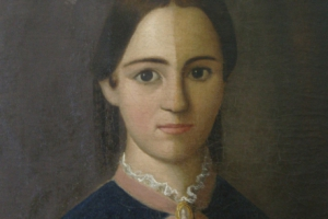 Woman in Blue Painting Restoration
